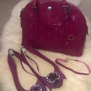 Coach cranberry dome bag, flats, and choker